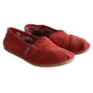 Toms red canvas slip-on flats